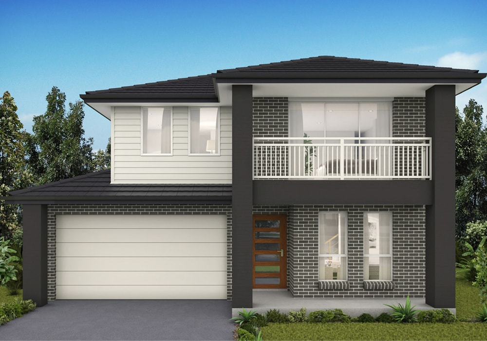Facade of Airds Leura display home painted with black and white color