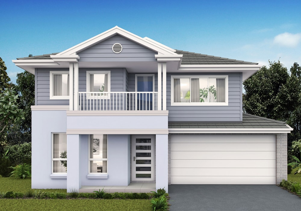 Facade of Willowdale display home with single garage and painted with blue shade