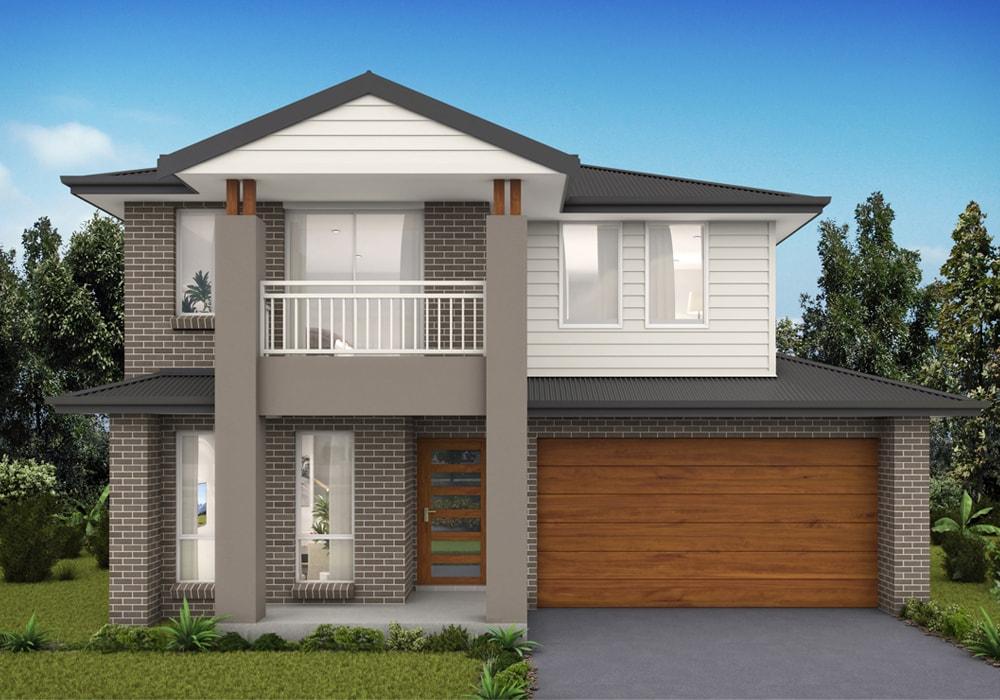 Facade of Watagan Park display home with wodden garage door