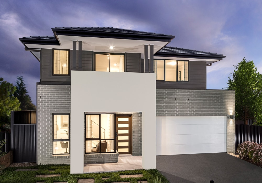 Front view of Emerald Hills display home with modern interior