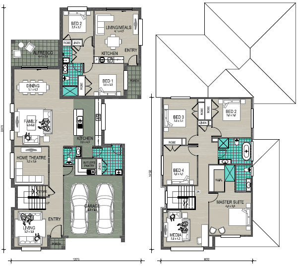 Floor Plan of Genoa Twin at Wongawilli